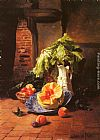 David Emile Joseph de Noter A Still Life With A White Porcelain Pitcher, Fruit And Vegetables painting
