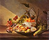 David Emile Joseph de Noter A Still Life With Fruit And Vegetables On A Table painting