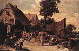 dancing bears Paintings - Peasants Dancing outside an Inn