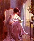 Delphin Enjolras Young Woman Reading By A Window painting