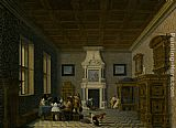 Dirck van Delen A Palace Interior with Cavaliers Cavorting with Nuns painting