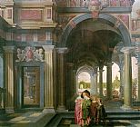 Dirck van Delen Palace Courtyard with Figures painting