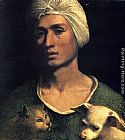 Dosso Dossi Portrait Of A Young Man With A Dog And A Cat painting