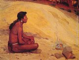 Eanger Irving Couse Indian Seated by a Campfire painting