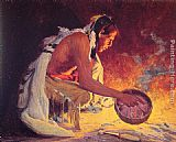 Eanger Irving Couse Indian by Firelight painting