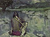 Eanger Irving Couse Moonlight Meditation painting