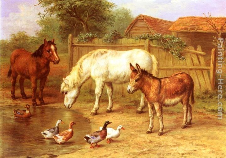 Edgar Hunt Ponies, Donkey and Ducks in a Farmyard
