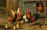Edgar Hunt A Cockerel with Chickens painting