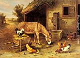 Edgar Hunt A Donkey and Chickens Outside a Stable painting