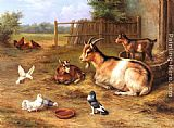 Edgar Hunt A Farmyard Scene with goats, chickens, doves painting