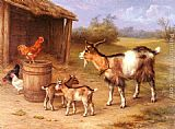 Edgar Hunt A Farmyard scene with goats and chickens painting