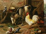 Edgar Hunt A Goat Chicken and Doves in a Stable painting