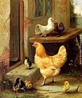 Edgar Hunt A Hen, Chicks And Pigeons painting