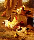 Edgar Hunt Chickens And Chicks painting