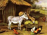 Edgar Hunt Chickens and Donkeys feeding outside a Barn painting