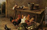 Edgar Hunt Chickens and Pigeons in a Farmyard painting