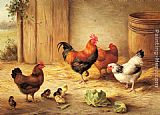 Edgar Hunt Chickens in a Barnyard painting