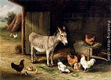 Edgar Hunt Donkey, Hens and Chickens in a Barn painting