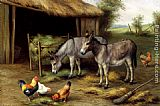 Edgar Hunt Donkeys And Poultry painting