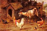 Edgar Hunt Fowl, Chicks And Goats By A Dog Kennel painting