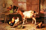 Edgar Hunt Goat and chickens feeding in a cottage interior painting