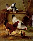 Edgar Hunt Pigeons And Chickens painting