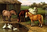 Edgar Hunt Ponies By A Pond painting