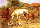 Edgar Hunt Ponies, Donkey and Ducks in a Farmyard painting