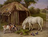 Edgar Hunt Pony and Goats in a Farmyard painting
