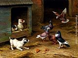 Edgar Hunt Puppies and Pigeons playing by a Kennel painting