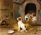 Edgar Hunt The Puppies painting
