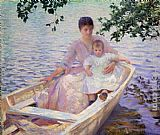 Edmund Charles Tarbell Mother and Child in a boat painting