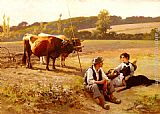 Edouard Bernard Debat-Ponsan Rest In The Fields painting