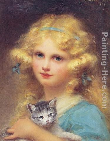 Edouard Cabane Portrait of a young girl holding a kitten