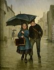 Edouard Frere Going to School painting