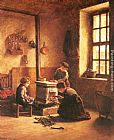 Edouard Frere Lighting the Stove painting
