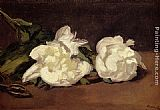 Eduard Manet Branch Of White Peonies With Pruning Shears painting