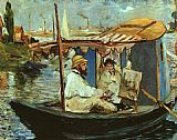 Eduard Manet Claude Monet working on his boat in Argenteuil painting