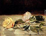 Eduard Manet Two Roses On A Tablecloth painting