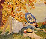 Edward Cucuel Woman Reclining by a Lake painting