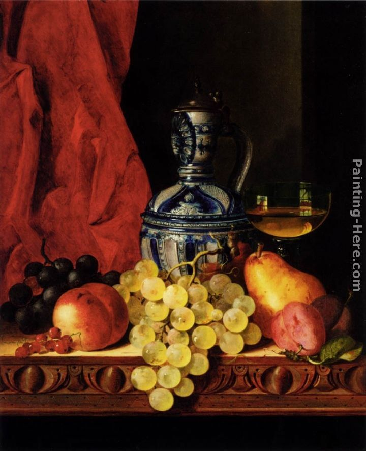 Edward Ladell Still Life With Grapes, A Peach, Plums And A Pear On A Table With A Wine Glass And A Flask