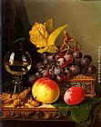 Edward Ladell A Still Life of Black Grapes, a Peach, a Plum, Hazelnuts, a Metal Casket and a Wine Glass on a Carved Wooden Ledge painting