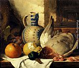 Edward Ladell Prawns, A Mallard, A Lemon, An Apple, Grapes And A Stoneware Jug On A Draped Wooden Ledge painting