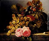Edward Ladell Still Life With A Birds Nest, Roses, A Melon And Grapes painting