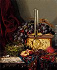 Edward Ladell Still Life With Fruit, Birds Nest, Glass Vase And Casket painting