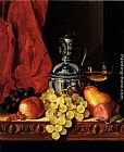 Edward Ladell Still Life With Grapes, A Peach, Plums And A Pear On A Table With A Wine Glass And A Flask painting