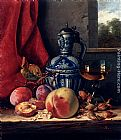 Edward Ladell Still Life with Peaches, Whitecurrants, Hazelnuts, a Glass and a Stoneware Jug on a wooden Ledge with a Landscape beyond painting