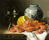 Edward Ladell Still Life with Prawns and a Delft Pot painting