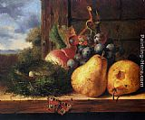 Edward Ladell Still life with a birds nest and fruit painting