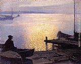 Edward Potthast Along the Mystic River painting